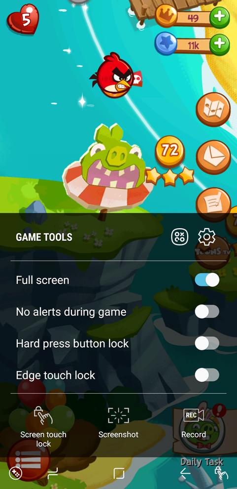 Game Tools is easier to access and use on the S8.