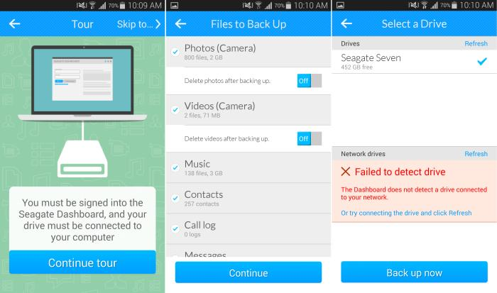 The Seagate Backup mobile app gives you the ability to save your phone's data on the Seagate Seven drive.
