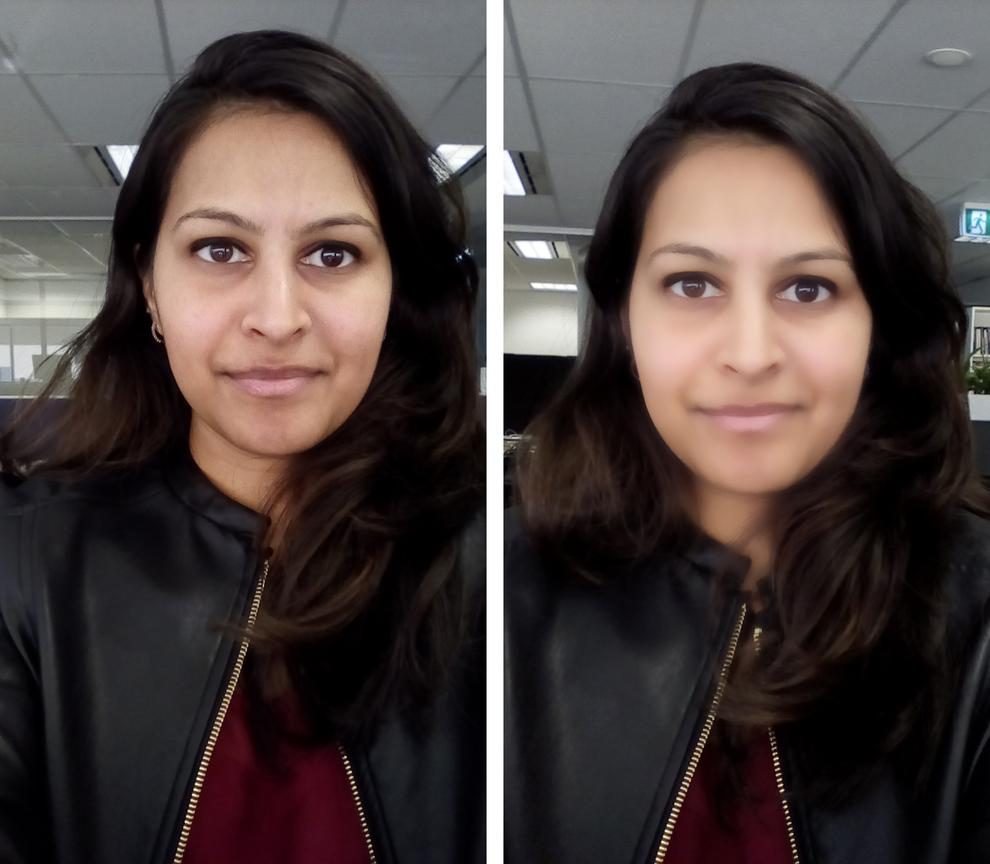 The Selfie camera is actually quite good. The Beauty Mode effect... less so.