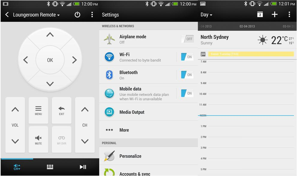 From L to R: The TV app, the settings menu and HTC's calendar app.
