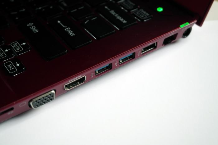 The right side has almost all of the ports and slots. It has power, Ethernet, USB 2.0, USB 3.0, HDMI, VGA, and also SD card and Memory Stick HG Duo slots. The cable lock slot is also on this side near the front, which could be inconvenient if you ever need to use this laptop while the lock is attached.