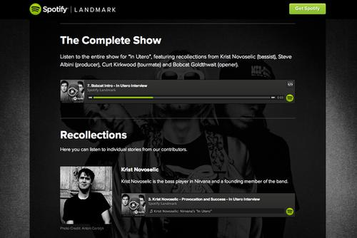 """Spotify Landmark is a new audio documentary series, which Spotify says will capture """"the story behind some of the greatest moments in music, told by the people who made them."""""""