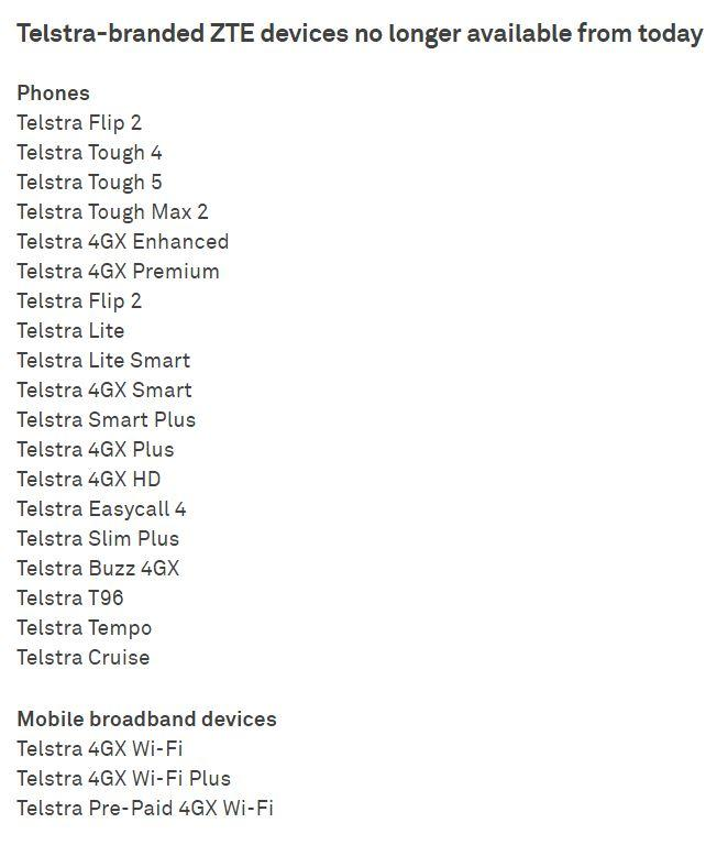 Telstra's list of ZTE-branded devices that are no longer available (Screenshot - source: Telstra)