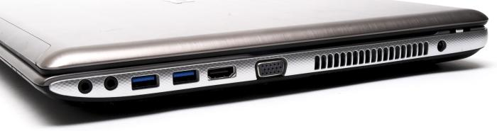 The right side has the air vent, VGA, HDMI, two more USB 3.0 ports, and separate headphone and microphone ports.