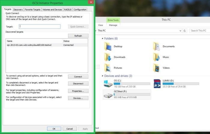 Creating an iSCSI drive.