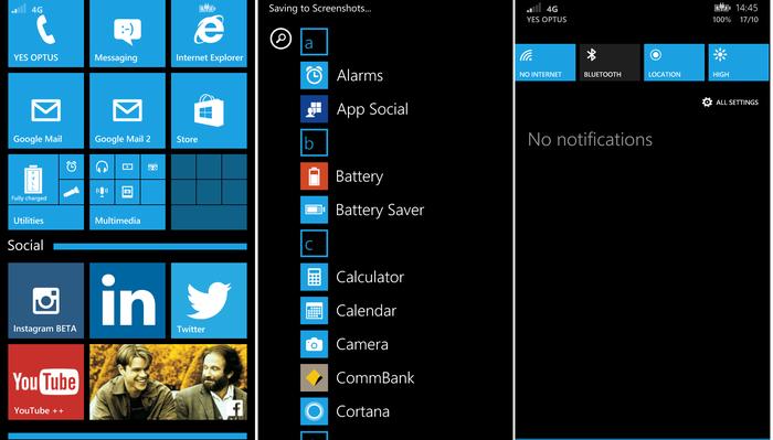 Windows Phone 8.1 as seen on the Lumia 830
