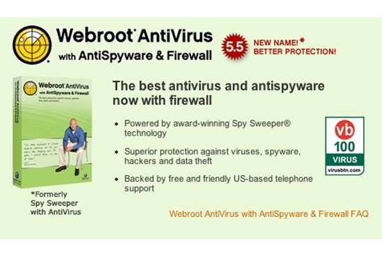Webroot AntiVirus with AntiSpyware and Firewall
